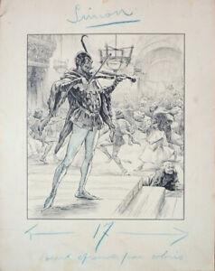 Dessin original illustration Diable Lucifer proche Zier ou Daniel Vierge