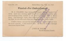 1922 Reward Postcard for Embezzlement from Sheriff of Santa Rosa CA to SF Police