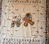 "Bear with Wagon Geese Crib Comforter Country Quilt 36"" x 44"""