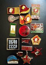 Lot of 16 Vtg Soviet Russian Enamel  Badge Pins Communist Vladimir Lenin