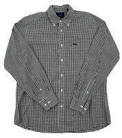 Faconnable Classique Mens Black White Check Long Sleeve Button Down Shirt Large