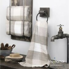 Linen/cotton towel set in waffle, light beige colour: hand, face, body linen tow