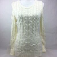 Hippie Rose Juniors Cold Shoulder Knit Sweater Ivory Size Large