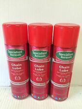 CHAIN LUBE WITH ANTI-FLING ADDITIVE AND  P.T.F.E  3 X 500ML AEROSOLS