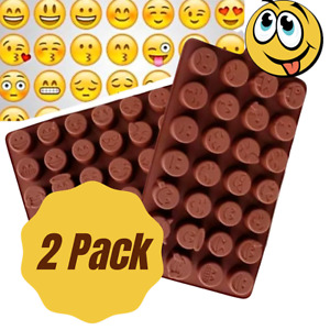 Smiley Happy Face Emoji Silicone Soap mold Candy Chocolate Fondant Tray 2 Pack
