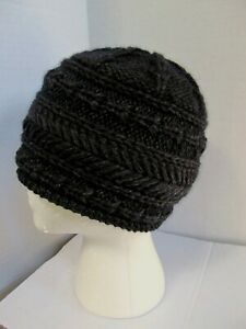 New charcoal cashmere cable hand knit handmade women's fit beanie hat