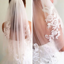 Lace short Wedding Veil 1T Ivory / white Tulle Elbow Bridal veil + Comb N2CX