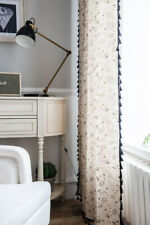 Dandelion Printed Curtain Black Tassel Lace Bedroom Living Room Window Drapes