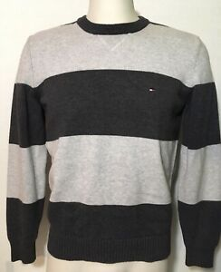 Tommy Hilfiger Sweater Mens Size Medium Striped Vintage? Gray Navy Blue