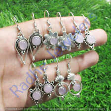 Natural Rose Quartz 10 pair Wholesale Lots 925 Sterling Silver Plated Earrings
