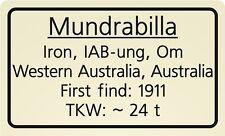 Meteorite label Mundrabilla