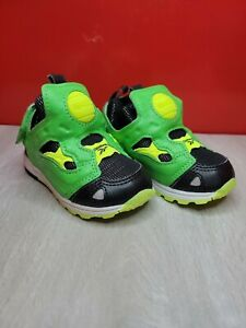 Reebok Versa Pump Fury SYN Black Green White TD Toddler Infant Baby Shoes size 4