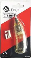 Yellow Electric Eraser Pen Battery Operated Automatic Art Craft Rubber + Refills