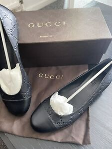 NEW Ladies Unisex Gucci Black Leather Moccasins/loafers With slight heel Size 36