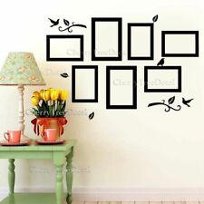 7x Photo Frames Wall Stickers Family Birds Art Decal Home Decor Removable Black