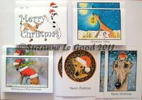 Greyhound Whippet Art Christmas cards 10 mixed from painting by Suzanne Le Good