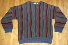 men's vintage 3-D Cosby Biggie abstract sweater color block sz XL Norm Thompson