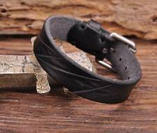 G143 Black Cool Texture Cut Retro Plain Leather Wristband Bracelet Cuff Buckle
