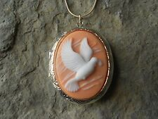 (LOCKET)-- FLYING DOVE CAMEO NECKLACE!!! QUALITY- PEACH, WEDDING, VALENTINE'S