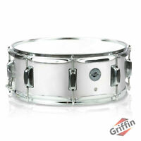 """GRIFFIN Metal Snare Drum 14""""x5.5 Steel Chrome Shell Percussion Head Key Hardware"""
