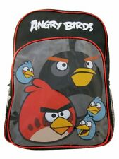"Angry Birds Large Backpack 16 inches Black/Red ""Birds Attack"" Kids Boys Girls"