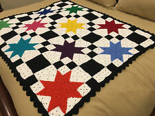 Handmade Afghan Blanket / Throw - From Designer Collection - Stars