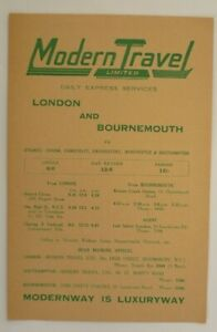 MODERN TRAVEL u/d c1930s ~  LONDON TO BOURNEMOUTH EXPRESS COACH SERVICES T/T