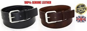 New Mens 100% Genuine Leather Black Brown Jeans Trousers Big Size Buckle Belt