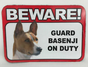 Beware! Guard Basenji On Duty Magnet Laminated Car Pet Magnet NEW 6x4