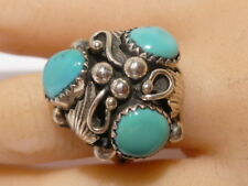 Old Pawn Rose Castillo Sterling Silver Turquoise Ring Vintage Navajo