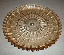 "Vintage Amber Marigold Iridescent Round Glass 14"" Plate Tray Center Metal Button"