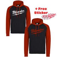 MILWAUKEE RED HOODIE Hoody S-2XL Power Tools Ringer hoodie Workwear FREE STICKER