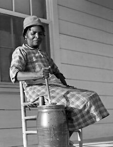 """1939 African American Woman Churning Butter, AL Old Photo 8.5"""" x 11"""" Reprint"""