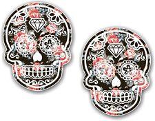 2 PEZZI 70x55mm Messicano Giorno dei Morti Sugar Skull Nero a Fiori Rose Auto Adesivo