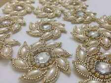 Pearl APPLIQUE avorio oro, Motif, bordi, tagliare, Paillettes, perline (5.5cm circa)