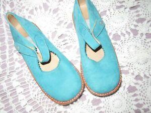 euc Mela Wilson aqua suede leather Mary Jane shoes big girls 3 free shipping USA