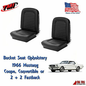 Front Bucket Seat Upholstery Black fits 1966 Mustang all Models IN STOCK!! TMI