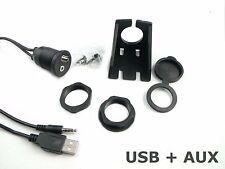 USB + AUX Klinke Einbau Steckdose Ladegerät Adapter KFZ Auto Smartphone iPhone