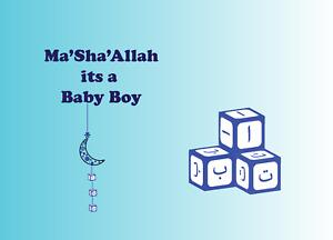 Ma'sha'Allah It's A Baby Boy Card Alif Ba Thaa block new born