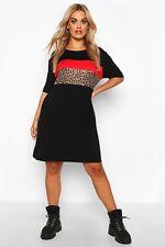 Boohoo Plus Black Leopard Contrast Panel T-Shirt Dress Size 26
