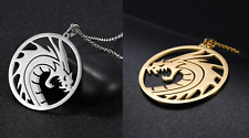 Dragon Necklace Circle Silver/Gold Necklace Animal Pendant 100% Stainless Steal