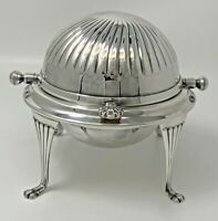 Antique English Silver Plate Dome Swing Lid Butter Caviar Dish Glass Liner