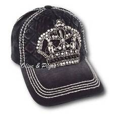 Olive & Pique NWT Bling Crystal Crown Quilted Front Baseball Style Cap - Black
