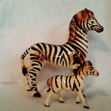 """Pair Zebra Figurines 9½"""" Tall and 4"""" Tall Brown Shading over Black & White Unmrk"""