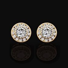 14K Yellow Gold 1.5Ct Simulated Round Diamond Bezel Halo Cluster Stud Earrings