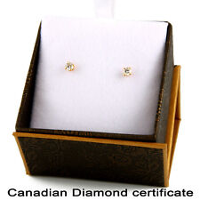 14k Yellow Gold Earrings with .20CT Canadian Certified diamonds. CDE-1