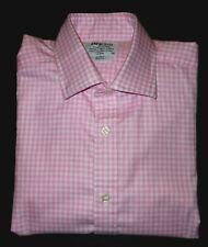 TM LEWIN PINK & WHITE FINE PLAIDS L/S HIGH QUALITY COTTON DRESS SHIRT. LWN7492-7