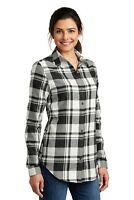 Womens Plaid Flannel Shirt Plus Size Tunic Checkered Casual Soft Cotton-blend