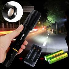 Noir Torch Flashlight 18650 Chargeur de batterie portables haute puissant LED