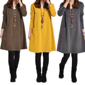 Mode Femme Pull Hiver et Automne Chaud Elegant Manches longues Dress Robe Plus
